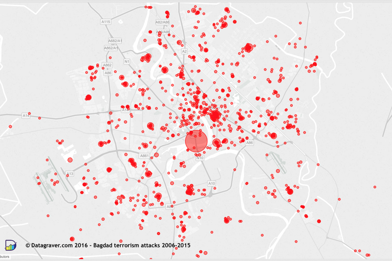 many attacks have only gotten the coordinates of the center of the city so there are some big circles on the map summing up several hundreds of attacks